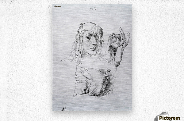 Study sheet with self-portrait, hand, and cushions  Metal print