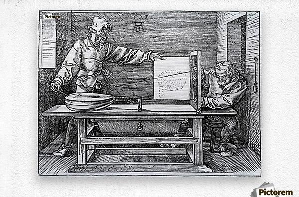 Man drawing a Lute  Metal print