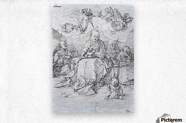 Holy Family crowned by two angels  Metal print