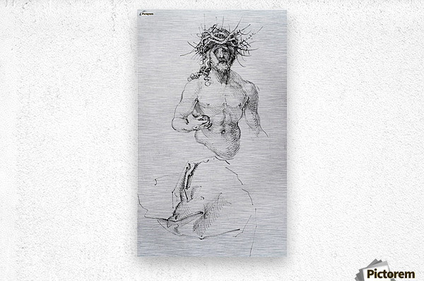 Study sheet with Christ as Man of Sorrows and a garment study  Metal print