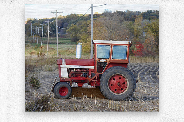 Tractor and Telephone Poles  Metal print