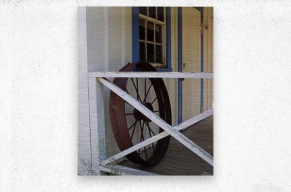 Wagon Wheel on Porch  Metal print