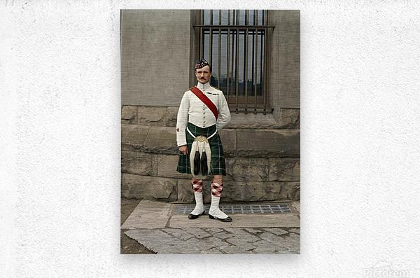 RSM David Nelson 72nd Regt. Seaforth Highlanders of Canada c.1913  Metal print