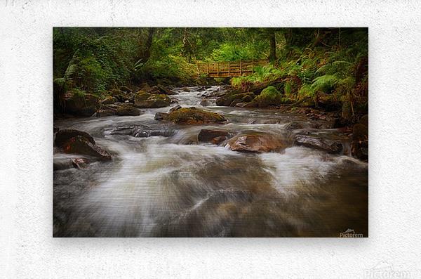 The wooden bridge over the river Melin  Metal print