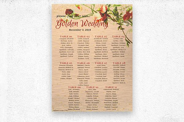Maroon Floral Vintage Spring Formal Seating Chart  Impression metal