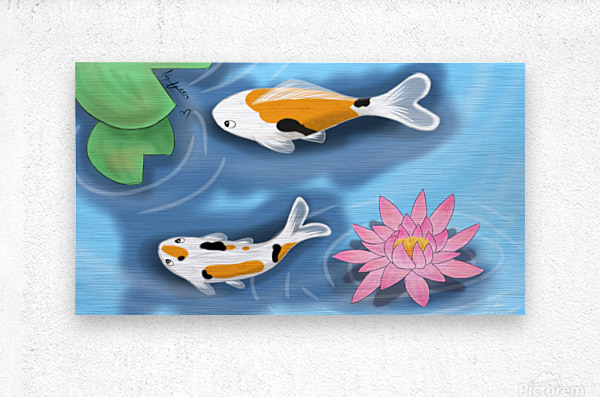 Cartoon Koi fish  Metal print