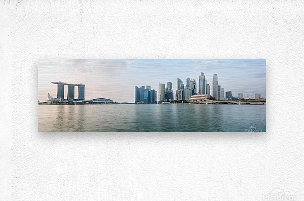 Panorama of Singapore skyline at sunrise  Metal print