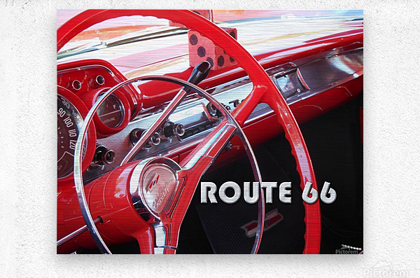 1957 Bel Air Interior - Route 66 Chrome  Metal print