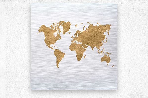 GOLD GLITTER WORLD MAP  Metal print