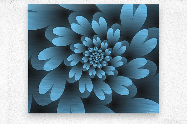 Blue Floral Satin Wallpaper  Metal print
