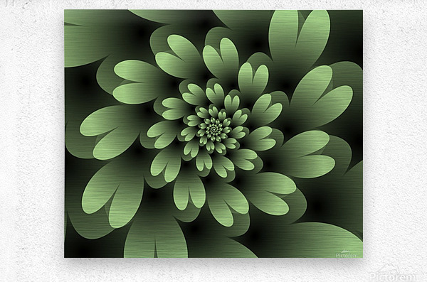 Green Floral Satin Wallpaper  Metal print