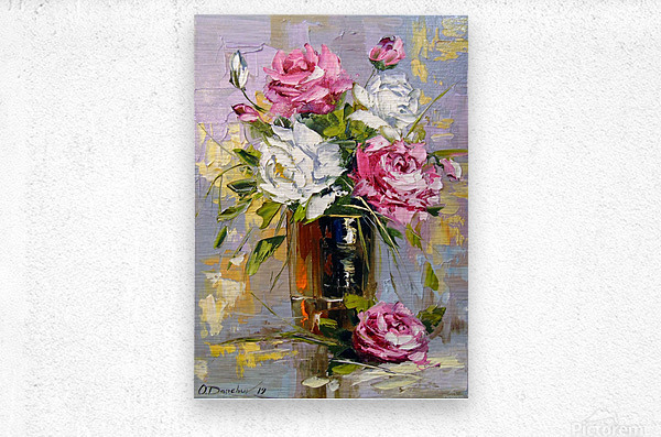 Bouquet of delicate roses  Metal print