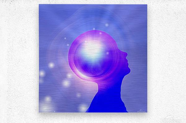 Human Head with Light  Metal print