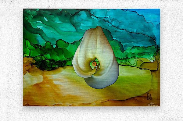 Alcohol Ink and Lily II  Metal print