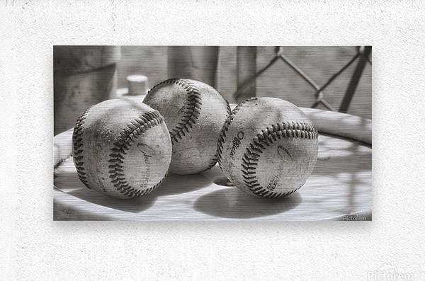3 Baseballs on a Bucket in Sepia  Metal print