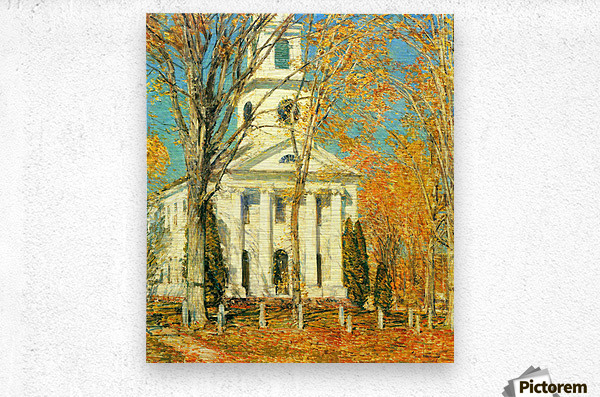 The Church of Old Lyme, Connecticut -2- by Hassam  Metal print