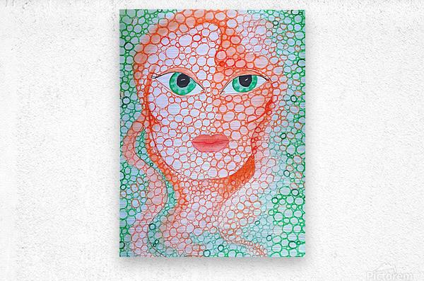 Girl and Circles  Metal print