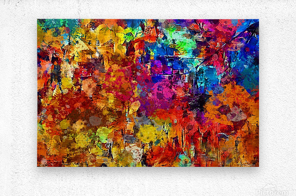 Autumn Leaves Abstract   Metal print