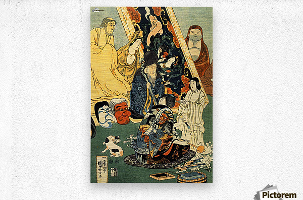 Sculptor Jingoro surrounded by statues  Metal print