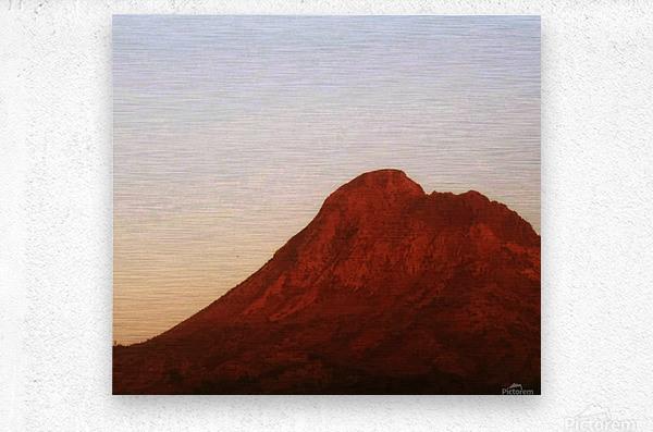 Red mountain side  Metal print