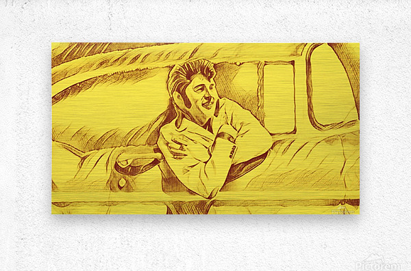 A drawing Of Elvis Presley In a Car Painted Yellow.     Metal print