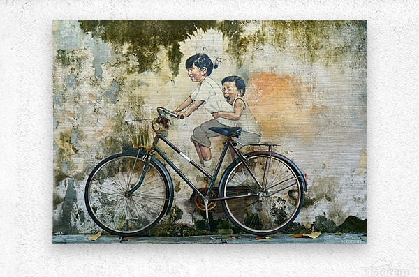 Kid And His Sister On A  Bicycle  Painting    Metal print