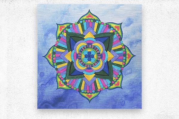 Hand Painted Mandala Watercolor Meditation on Blue  Metal print