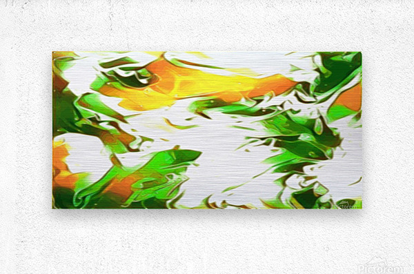Legendary - green gold and white abstract swirls wall art  Metal print