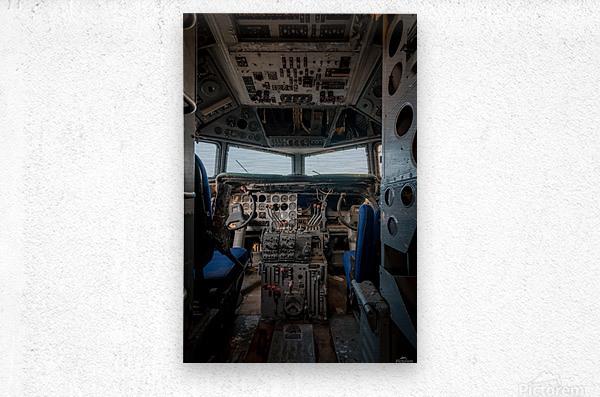 Abandoned Airplane Cockpit  Metal print