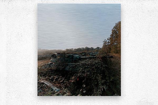 Abandoned Tank Graveyard w- Vines  Metal print