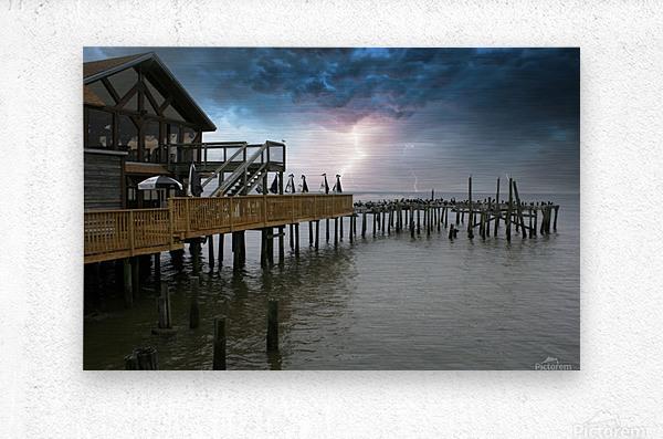 Lightning over Pier  Metal print