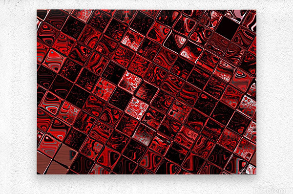 Red Glass Tiles 3  Metal print