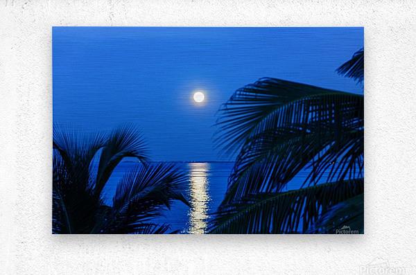 Moon rise at Cayman Kai  Metal print