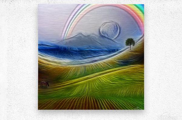 Painterly Peaceful Landscape  Metal print