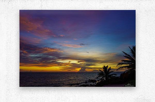 Colorful Caribbean Sky at Grand Cayman  Metal print