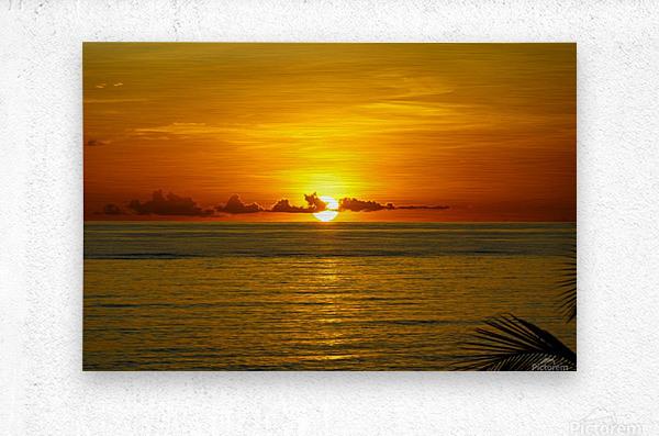 Sun rising on the ocean  Metal print