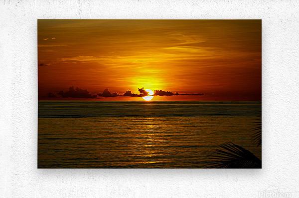 Sun rising on the Caribbean  Metal print
