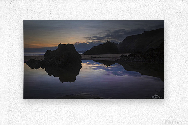 Rockpool reflections at sunset  Metal print