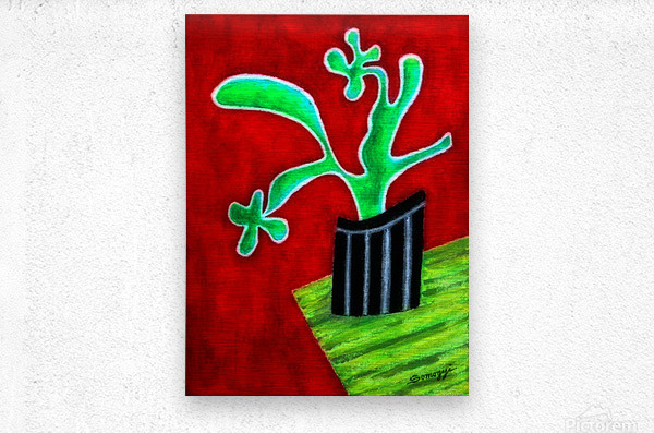 Cactus on Green Table  Metal print