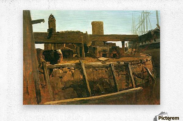 Boat at the dock by Bierstadt  Metal print