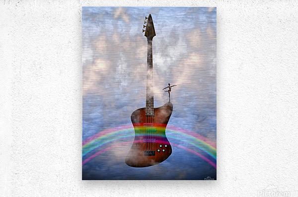 Bass Guitar with Dancer  Metal print