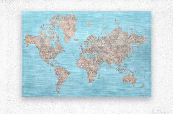highly detailed watercolor world map in neutrals and light blue  Metal print
