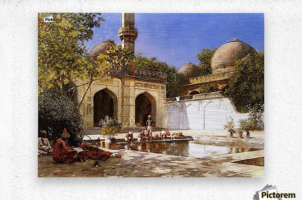 Figures in the Courtyard of a Mosque  Metal print