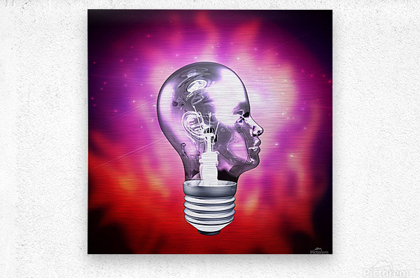 Human Light Bulb Head  Metal print