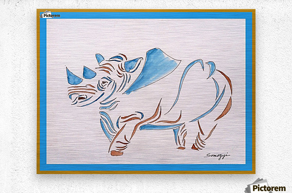 Do Rhinos Come in Blue  Metal print