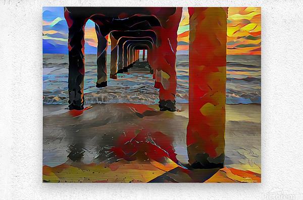 Hermosa beach pier  Metal print