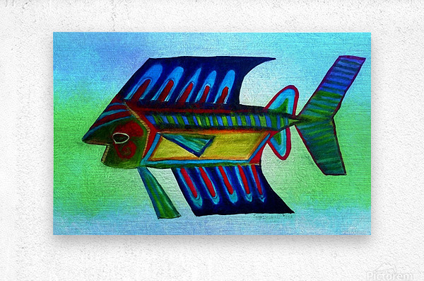 You Cant Eat a Blue Fish  Metal print