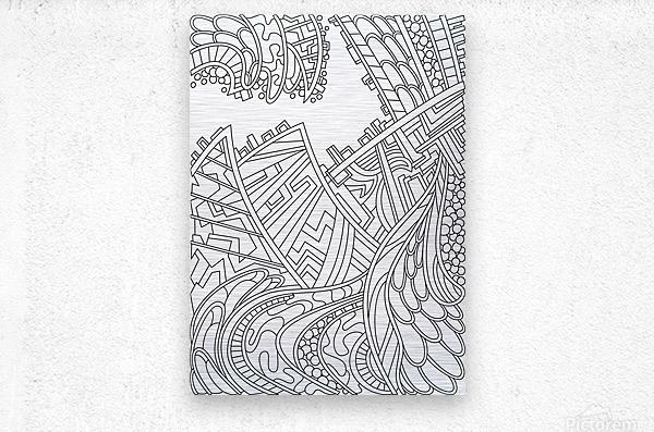 Wandering Abstract Line Art 01: Black & White  Metal print