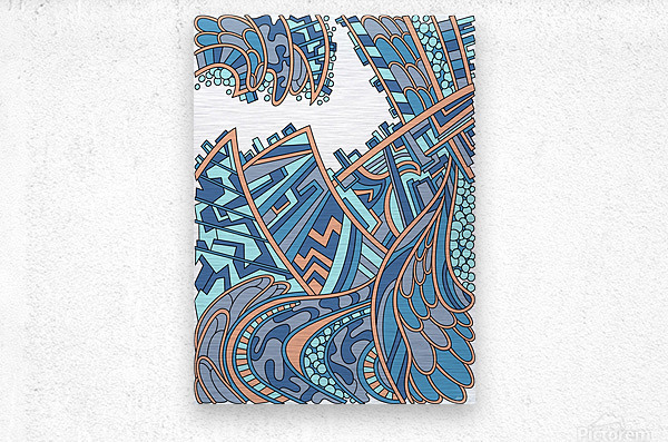 Wandering Abstract Line Art 01: Blue  Metal print