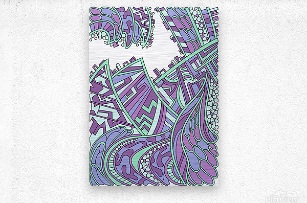 Wandering Abstract Line Art 01: Purple  Metal print
